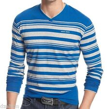 NWT Armani Jeans Striped Long Sleeves Tee V-Neck Logo T-Shirt in Blue-Gray Sz L
