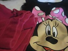 Girls Size 12 Mo. Black Disney Minnie Mouse T-Shirt & Red Velveteen Pants - Used