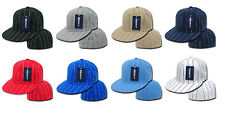 Sports Pinstripe Fitted Polo Baseball Caps Flat Bill Hat Decky RP3 Various Color