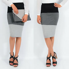 High Waisted Pencil Skirt, Knee Length Block Colour Contrast Bodycon Midi Skirt
