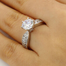 2.00 Ct 14K White Gold Round w Pave Side Stones Engagement Bridal Promise Ring