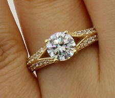 1.50 Ct 14K Yellow Gold Round w Pave Side Stones Engagement Bridal Promise Ring