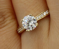 1.50 Ct 14K Yellow Gold Round Pave Side Stones Engagement Bridal Promise Ring