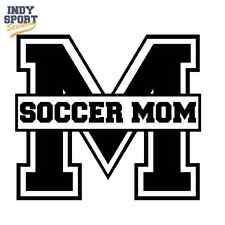 Soccer Mom Text with M - Custom Personalized Vinyl Sports Car Decal Sticker