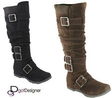NEW Womens Shoes Mid Calf Knee High Boots Round Toe Slouch Comfort Casual Flat