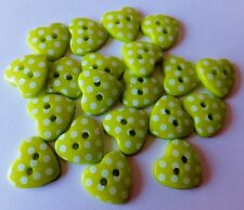 20 Acrylic Lime Green Heart dot Buttons, cardmaking-scrapbooking-weddings-sewing