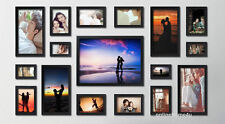 17Pcs Wood wooden effect Multi Picture Photo Frames Wall Hang Frames Collage Set