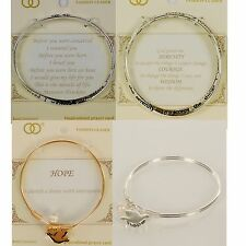 Bracelet Engraved Quote Bangle Twist Inspirational Prayer Chic Cute Silver Gold