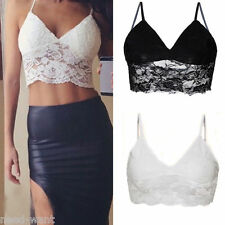 Lace Summer Strappy Vest Bralet Bra Crop Top Party Corset Bustier Tank Top UK