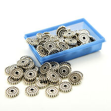 100 Pcs Tibet Silver Loose Spacer Beads Charms Jewelry Making Findings DIY Beads