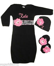 Personalized Black Infant Gown, Hat & Booties Set Zebra & Pink Flowers