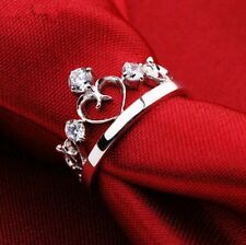 925 Sterling Silver Simulated Diamond Crown Rings + Worldwide FREE SHIPPING