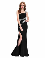 Sequins Long Slim Split Formal Pageant Cocktail Ball Gown Party BLACK Dresses