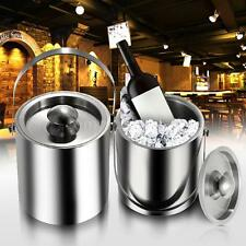 2L/3L Bilayer Stainless Steel Insulation Ice Bucket Wine Cold Barrel w/ Lid B3P7