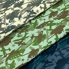 FQ TANK HELICOPTER AIRCRAFT AIRPLANE ARMY NAVY AIR FORCE STAR Cotton Fabric VA97