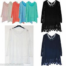 BNWT Womens Italian Lagenlook Quirky Layering Tunic Crochet Top Dress UK 14-20