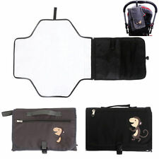 Foldable Travel Baby Diaper Pad Changing Mat Nappy Bag W/ Storage Pockets Black