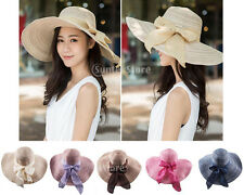 Womens Straw Hat Folding Wide Brim Bow Summer Beach Sun Ladies Floppy Cap Casual