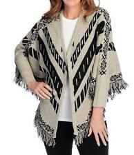 NEW Kate & Mallory Sweater Knit Fringe Detailed Self-Tie Poncho Sz. M or 1X
