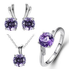Solid 925 Sterling Silver Amethyst Jewelry Set Ring, Earrings & Pendant w Chain