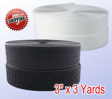 """Black/White 3"""" X  3 Yards Sew-on Hook and Loop Tape  Fastener 75mm x 9 ft"""