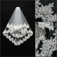 New 2T White or Ivory Handmade Bridal Wedding Veil Lace Applique Edge With Comb