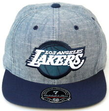 NBA Los Angeles Lakers Mitchell & Ness Slub Linen Cap Fitted Hat - Heather Blue