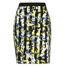 NEW Target Peter Pilotto PENCIL SKIRT BLACK WHITE YELLOW BLUE Floral Print  6