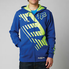 Fox Racing Blue Yellow Savant LE Zip Hoodie Sweatshirt Hoody Sweater fleece