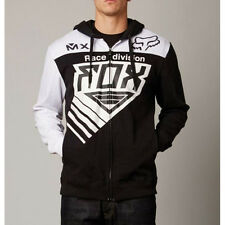 Fox Racing Black White Racer Moto Zip Hoodie Sweatshirt Hoody Sweater fleece