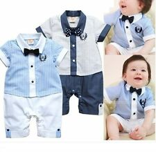 Baby Boy Wedding Christening White Formal Tuxedo Suit Bowtie Romper Outfit 3-18M