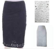 Boden Broderie Anglaise Cotton Summer Skirt White or Navy Blue Sizes 8 10 14 R T