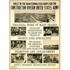 WWI Recruitment Ad Vintage-Style Poster Quartermaster Corps Construction US Army