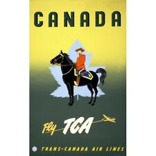 Canada Fly TCA Airline Travel Ad w/ Royal Canadian Mountie Vintage-Style Poster