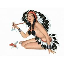 Pin Up Girl Vintage-Style Poster Brunette Indian Girl with Peace Pipe Tomahawk