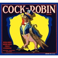 Cock - Robin Brand Fruits Ad Label Vintage-Style Poster