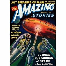 Vintage-Style Sci Fi Poster Amazing Stories Squadrons of Space Cover Art
