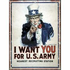 Uncle Sam I Want You For US Army WWI & WWII Recruiting Vintage-Style Poster