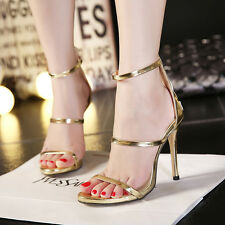 New Gold Black Strappy Sandals Zipped High Heels Belts Sexy Women Wedding Shoes