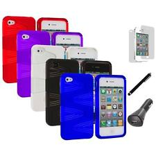 2-Piece Swirl Hybrid Hard TPU Cover Case+LCD+Charger+Pen for iPhone 4S 4G 4