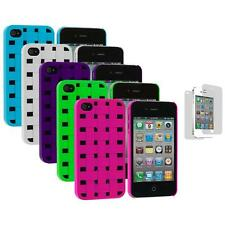 Basket Weave Hard Snap-On Case+3X LCD Protector for iPhone 4 4S 4G