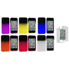 Color Two Tone Crystal Hard Cover Case+3X LCD Protector for iPhone 4 4S 4G