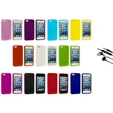 Hard Snap-On Rubberized Case Skin Cover Accessory+Earphone Mic for iPhone 5 5S