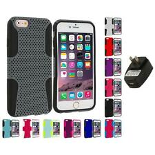 For Apple iPhone 6 Plus (5.5) Hybrid Mesh Shockproof Case Cover Wall Charger