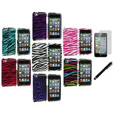 Zebra Hard Case Cover Accessory+LCD Film+Stylus for iPod Touch 4th Gen 4G 4