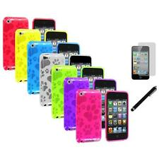 TPU Dog Paw Skin Case Cover+LCD Film+Stylus for Apple iPod Touch 4th Gen 4G 4