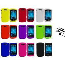 Color Hard Rubberized Cover Case+Earphone Mic for Blackberry Torch 9800 9810