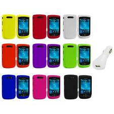 Color Hard Rubberized Cover Case+White Charger for Blackberry Torch 9800 9810