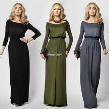 New Women Maxi Dress Full Length Boat Neck Long Sleeve Evening Party Dress BF9