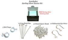 925 STERLING SILVER BEADS & FINDINGS KIT EARWIRES,HEADPINS,CLASPS & POLISHER UK
